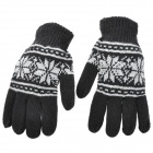 Fashion Woolen Warm Glovers for Man - Black + White (Pair)