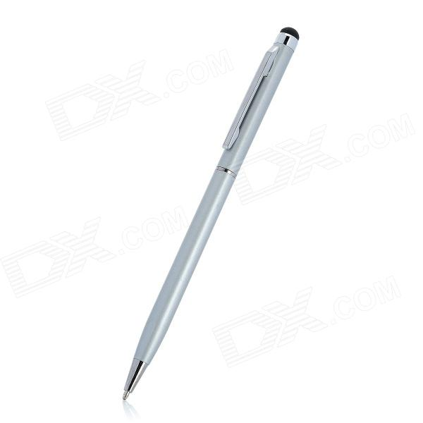 2-in-1 Touch Screen Stylus + Ball Point Pen For Iphone / Ipad - Silver