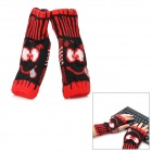 Smiling Face Style Warm Fingerless Computer Tying Woolen Gloves for Woman - Red (Pair)
