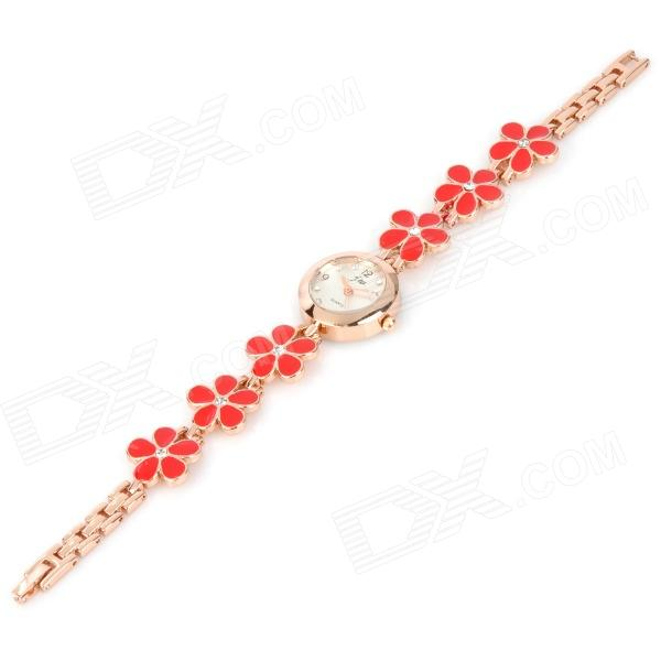 Flower Shaped Zinc Alloy Band Quartz Analog Waterproof Wrist Watch - Red + Light Salmon (1 x 377) stylish bracelet zinc alloy band women s quartz analog wrist watch black 1 x 377
