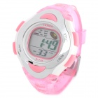 Sport Rubber Band Digital Waterproof Wrist Watch w/ Alarm + Snooze - Pink (1 x 626)