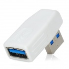 Right Angle USB 3.0 Male to Female Adapter - White