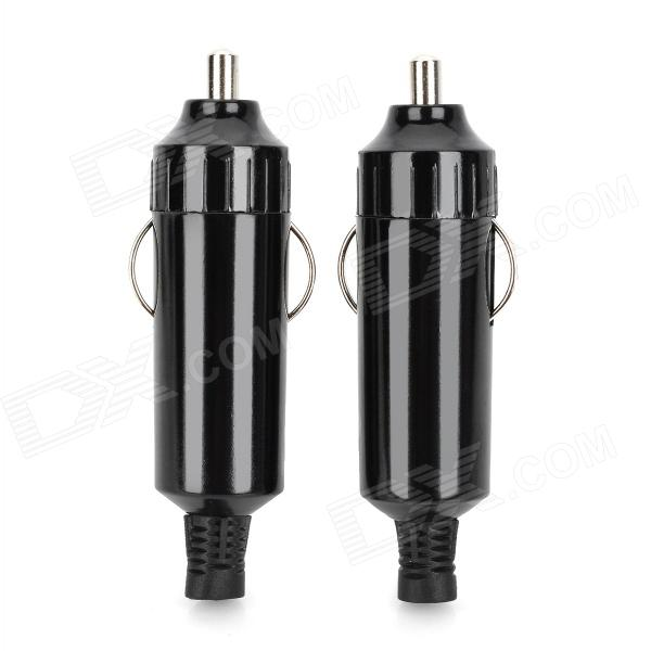 DC 12V Car Cigarette Lighter Plug Adapter - Black (2PCS)