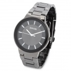 SINOBI 9186 Fashion Man's Stainless Steel Quartz Analog Waterproof Wrist Watch - Black + Dim Grey