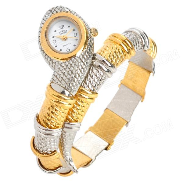 Snake Style Zinc Alloy Band Quartz Analog Waterproof Wrist Watch - Silver + Golden (1 x 626) fashion lady s zinc alloy band quartz analog rhinestone waterproof wrist watch silver 1 x 377