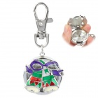 Christmas Bell Shaped Fashion Zinc Alloy Quartz Analog Waterproof Keychain Watch - Silver + Green