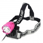 Cree XM-L T6 600lm 3-Mode White Crown Head Bike Light Headlamp - Deep Pink (4 x 18650)