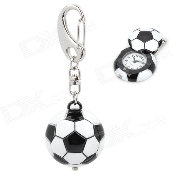 Football Shaped Zinc Alloy Quartz Analog Waterproof Keychain Watch - White + Black (1 x 626)