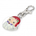 Santa Claus Head Style Zinc Alloy Quartz Analog Waterproof Keychain Watch - White + Red (1 x 626)