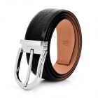 Fashion Man's Cow Leather Belt w/ Nickel Alloy Buckle - Black + Silver