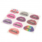 Fashionable Pattern Rubber Tattoo Lips Sticker - Multicolored (10 PCS)