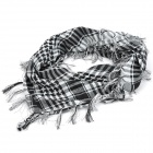 Casual Cotton Checked Pattern Scarf - Black + White