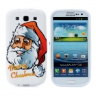 Merry Christmas Santa Pattern Protective Silicone Case for Samsung i9300 Galaxy S3 - White
