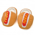 Cute Bread Shaped Household Velvet Fabric Cotton Warmer Anti-Skid Shoes - Peru + Red (Pair)