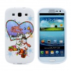 Merry Christmas Love Heart Pattern Protective Silicone Case for Samsung i9300 Galaxy S3 - White