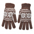Fashion Woolen Warm Glovers for Man - Brown + Light Grey (Pair)