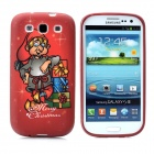 Merry Christmas Pattern Protective Silicone Case for Samsung i9300 Galaxy S3 - Deep Red