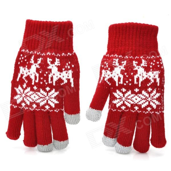 Snow Pattern Capacitive Screen Touching Hand Warmer Glovers - Red + More (Pair)