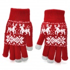 Snow Pattern Capacitive Screen Touching Hand Warmer Gloves - Red + More (Pair)