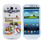 Happy Christmas Event Pattern Protective Silicone Case for Samsung i9300 Galaxy S3 - White