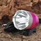 Cree XM-L T6 600lm 3-Mode White Crown Head Bike Light Headlamp - Deep Pink + Silver (4 x 18650)