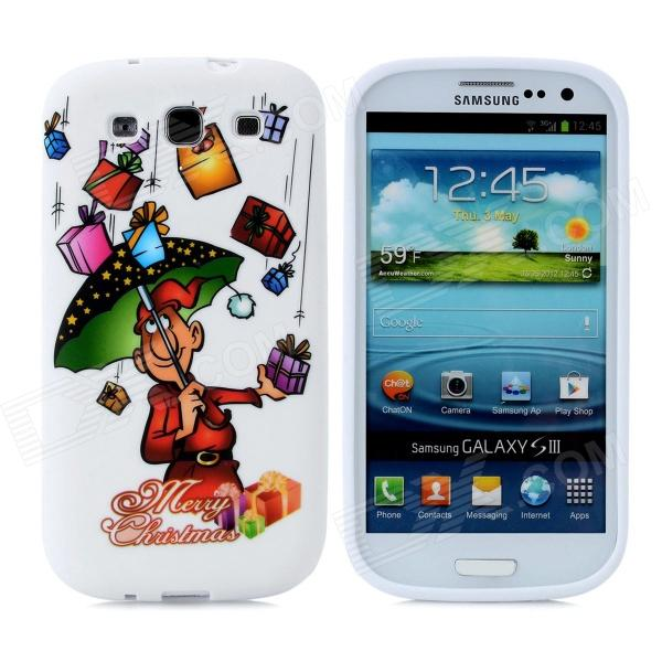 Merry Christmas Gift Pattern Protective Silicone Case for Samsung i9300 Galaxy S3 - White