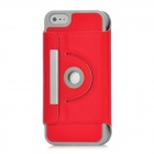 Protective 360 Degree Rotating Holder PU Leather Case for Iphone 5 - Red