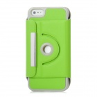 Protective 360 Degree Rotating Holder PU Leather Case for Iphone 5 - Green