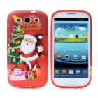 Santa Claus Christmas Tree Pattern Protective Silicone Case for Samsung i9300 Galaxy S3 - Deep Red