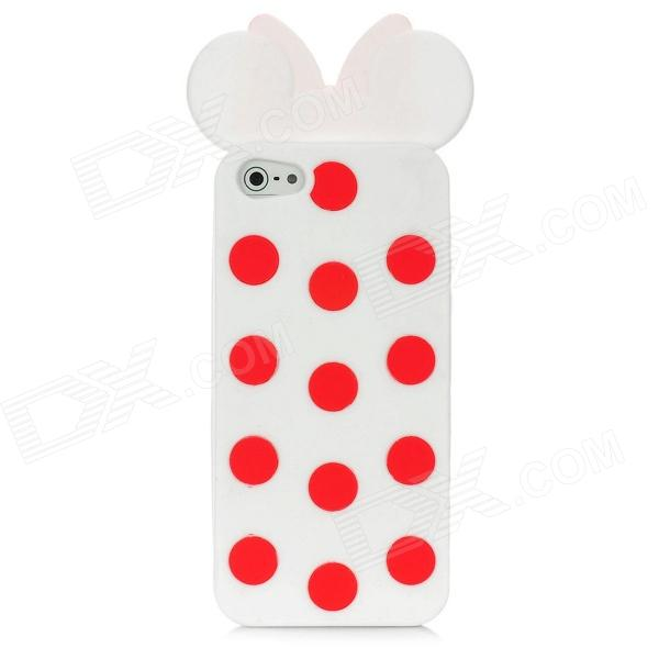 Protective Polka Dot Bowknot Case Cover for Iphone 5 - White + Red protective heart shape rhinestone decoration back case for iphone 5 brown