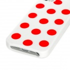 Protective Polka Dot Bowknot Case Cover for Iphone 5 - White + Red