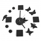 DIY Butterfly Bird Wall Clock for Room / House / Office Decoration - Black