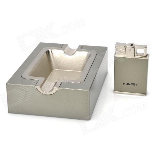 Fashion 2-in-1 HONEST TA-61 Zinc Alloy Butane Lighter / Ashtray Set - Silver
