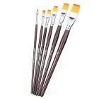Art Decoration Flat Brush Crystal Nail Pen Set - Black (6 PCS)
