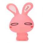 Mini Cute Plastic Rabbit Suction Toy - Pink + White