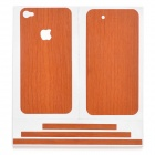 Carbon Fiber Grain Back & Front Decoration Paper Sticker for iPhone 4 - Reddish Brown