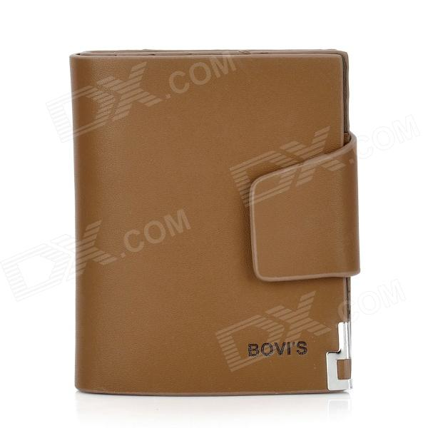 BOVIS 8019#2 Casual Man's PU Credit Name Card Wallet w/ Slots + Buckle - Light Coffee