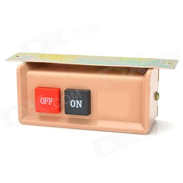 DIY 10A ON / OFF Push Buttons Switch - Beige Red (AC 220~380V) ac 660v 10a plastic shell red sign emergency stop mushroom push button switch