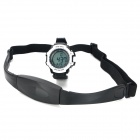 Digital Heart Rate Watch w/ Elastic Chest Belt - White + Black