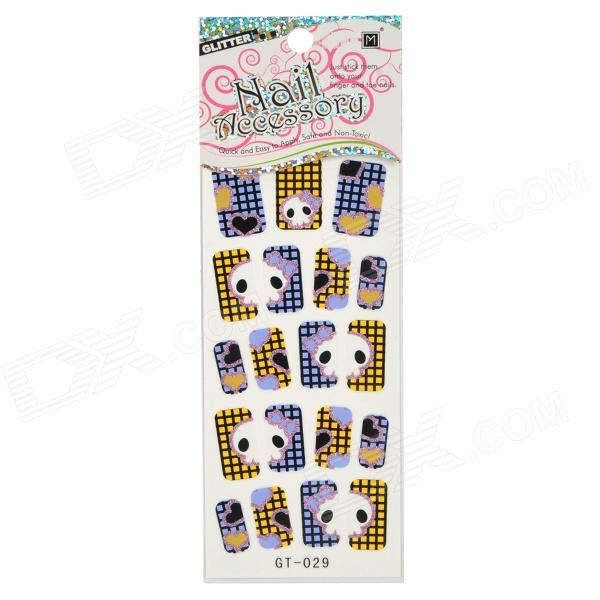GT-029 3D Cute Skull Pattern Glittery Nail Stickers (19 PCS)