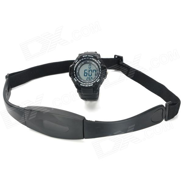 Digital Heart Rate Watch w/ Elastic Chest Belt - Black
