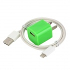 AC Adapter + USB Daten / Ladekabel 8-Pin Blitz-Kabel für iPhone 5 / iPad Mini / iPod Touch 5 - Grün