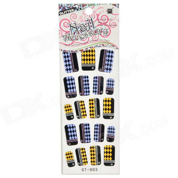GT-003 3D Diamond Pattern Glitter Nail Stickers (19 PCS)