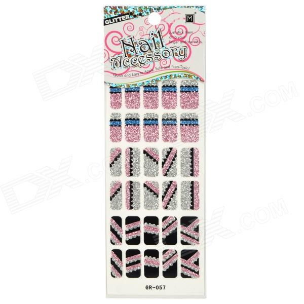 GR-057 3D Line Break Pattern Glitter Nail Stickers (30 PCS)