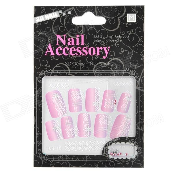 QB-10 DIY 3D Wave Pattern Nail Stickers w/ Rhinestone Set
