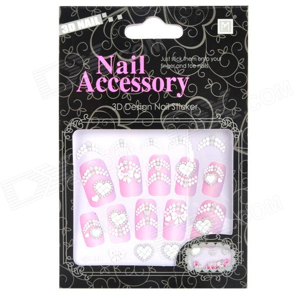 QB-18 DIY 3D Heart Pattern Nail Stickers w/ Rhinestone Set