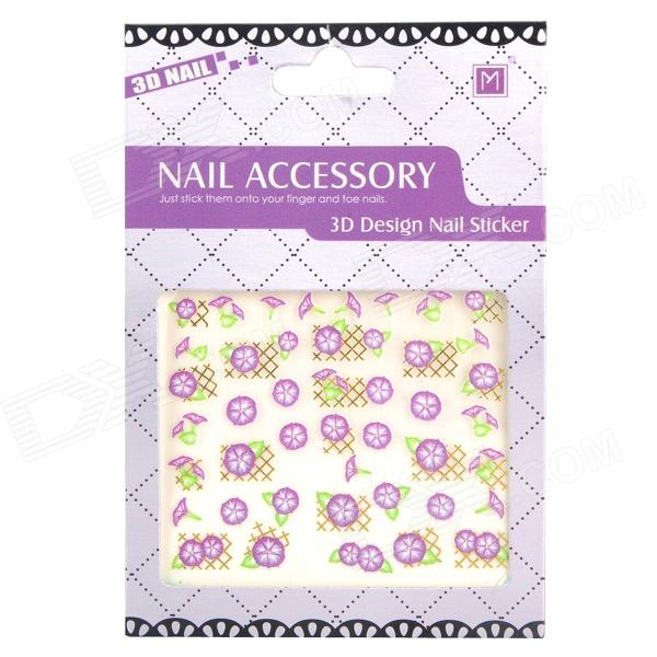 DIY Morning Glory Pattern Nail Art 3D Stickers (2 Sheets)