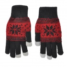 Snow Pattern Capacitive Screen Touching Hand Warmer Gloves - Black + More (Pair)