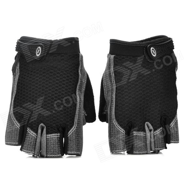 Outdoor Cycling Polyester + Silicone Half-Finger Warmer Glovers - Black + Grey (Pair / Size L) pro biker mcs 03 motorcycle racing full finger warm gloves red black grey size l pair