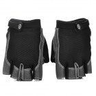 Outdoor Cycling Polyester + Silicone Half-Finger Warmer Glovers - Black + Grey (Pair / Size L)